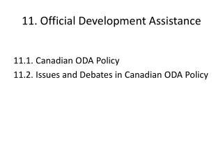 11. Official Development Assistance