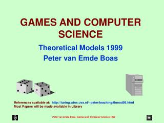 GAMES AND COMPUTER SCIENCE