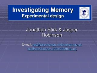 Investigating Memory Experimental design