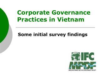 Corporate Governance Practices in Vietnam