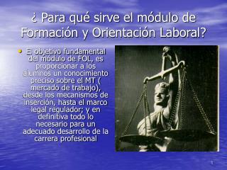 ¿ Para qué sirve el módulo de Formación y Orientación Laboral?