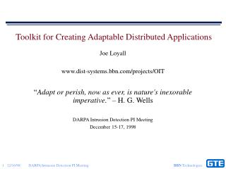 Toolkit for Creating Adaptable Distributed Applications