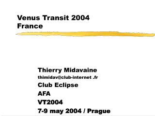 Venus Transit 2004 France