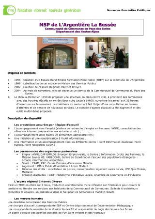 MSP de L'Argentière La Bessée Communauté de Communes du Pays des Ecrins