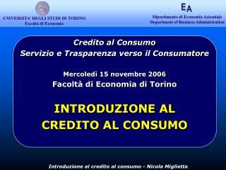 UNIVERSITA� DEGLI STUDI DI TORINO Facolt� di Economia