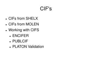 CIF's