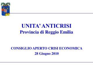 UNITA' ANTICRISI Provincia di Reggio Emilia