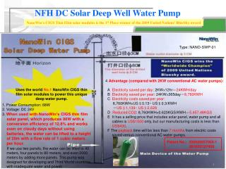 NFH  DC Solar Deep Well Water Pump