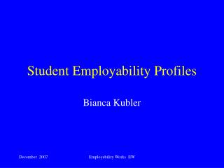 Student Employability Profiles
