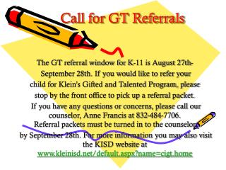 Call for GT Referrals