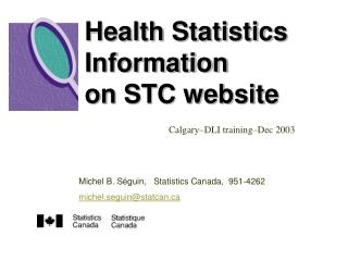 Health Statistics Information on STC website