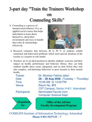 "3-part day ""Train the Trainers Workshop       on  Counseling Skills"""