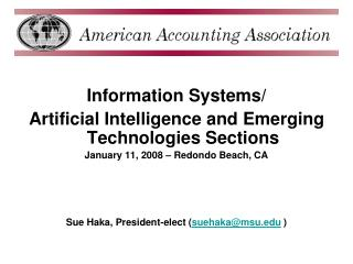 Information Systems/ Artificial Intelligence and Emerging Technologies Sections