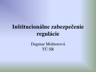 Inštitucionálne zabezpečenie regulácie