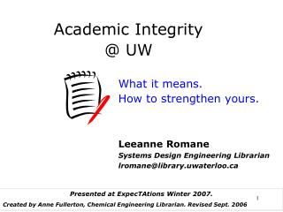 Academic Integrity  @ UW