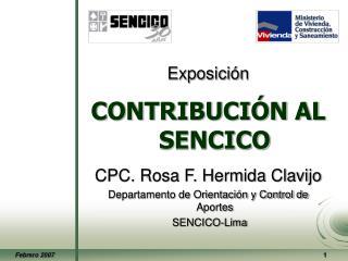 Exposición CONTRIBUCIÓN AL SENCICO CPC. Rosa F. Hermida Clavijo