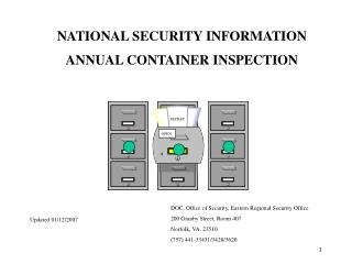 NATIONAL SECURITY INFORMATION ANNUAL CONTAINER INSPECTION