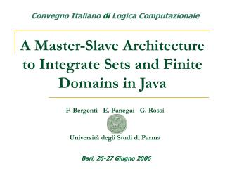 A Master-Slave Architecture to Integrate Sets and Finite Domains in Java