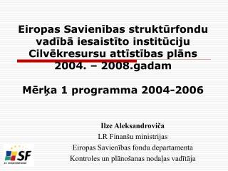 Ilze Aleksandrovi?a LR Finan�u ministrijas Eiropas Savien?bas fondu departamenta