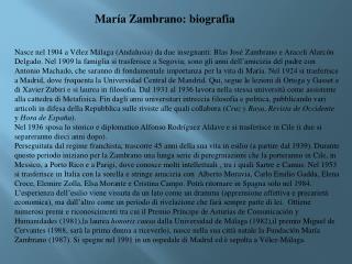 María Zambrano : biografia