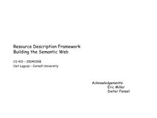 Resource Description Framework Building the Semantic Web
