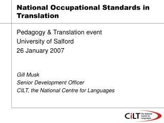 National Occupational Standards in Translation