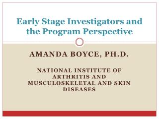 Early Stage Investigators and the Program Perspective