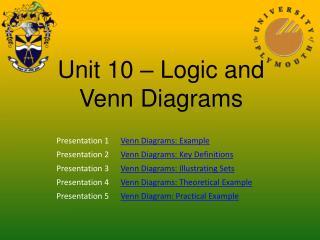 Unit 10 – Logic and Venn Diagrams