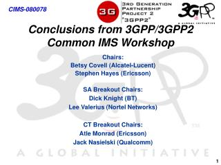 Conclusions from 3GPP/3GPP2 Common IMS Workshop
