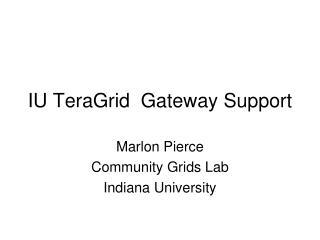 IU TeraGrid  Gateway Support
