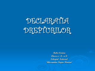 DECLARATIA DREPTURILOR