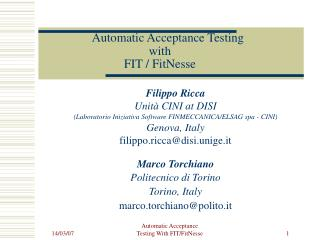 Automatic Acceptance Testing  with  FIT / FitNesse