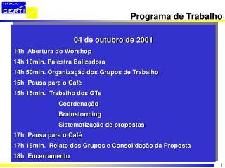 04 de outubro de 2001 14h  Abertura do Worshop 14h 10min. Palestra Balizadora