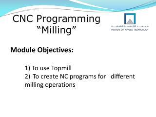 "CNC Programming ""Milling"""