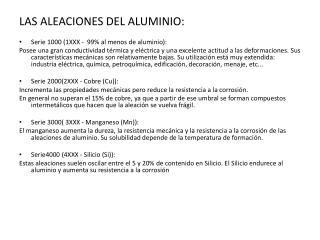 LAS ALEACIONES DEL ALUMINIO: