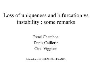 Loss of uniqueness and bifurcation vs instability : some remarks