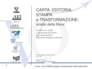 CARTA, EDITORIA,  STAMPA  e TRASFORMAZIONE:  analisi della filiera Incontro con i media