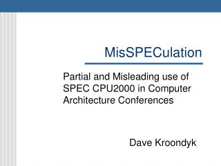 MisSPECulation