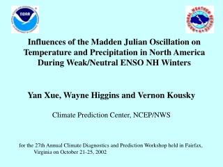 Yan Xue, Wayne Higgins and Vernon Kousky Climate Prediction Center, NCEP/NWS