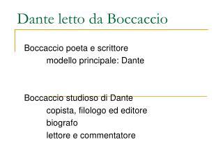 Dante letto da Boccaccio