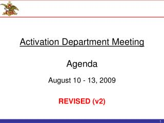 Activation Department Meeting Agenda