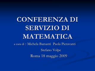 CONFERENZA DI SERVIZIO DI MATEMATICA