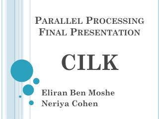 Parallel Processing Final Presentation CILK