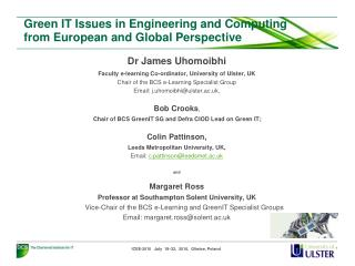 Green IT Issues in Engineering and Computing from European and Global Perspective