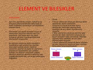 ELEMENT VE BILESIKLER