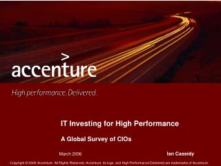 IT Investing for High Performance A Global Survey of CIOs