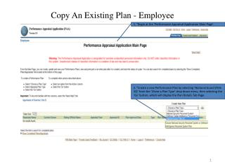 Copy An Existing Plan - Employee