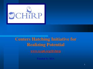 Centers Hatching Initiative for  Realizing Potential rcep6/il/chirp Funded by RSA