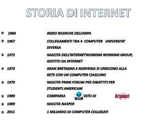 1960INIZIO RICERCHE DELL'ARPA 1967COLLEGAMENTI TRA 4  COMPUTER   UNIVERSITA'   DIVERSA