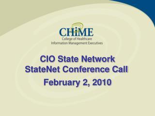 CIO State Network StateNet Conference Call
